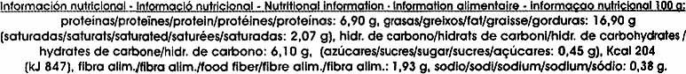 Paté vegetal de tofu y algas - Informació nutricional