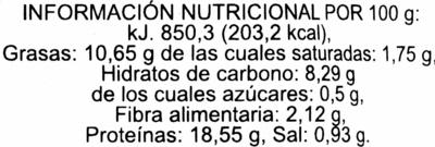 Tempeh de soja - Información nutricional - es