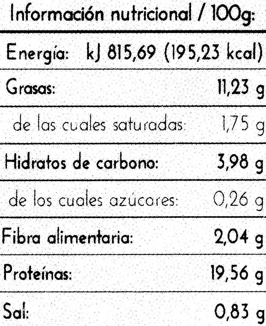 Tempe de soja macerado con tamari - Informations nutritionnelles - es