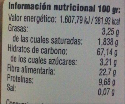 Cúrcuma en polvo - Informations nutritionnelles - es