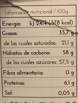 Chocolate blanco - Nutrition facts - es