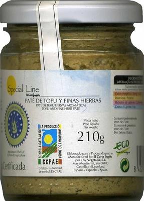 Paté vegetal  de tofu y finas hierbas - Producto