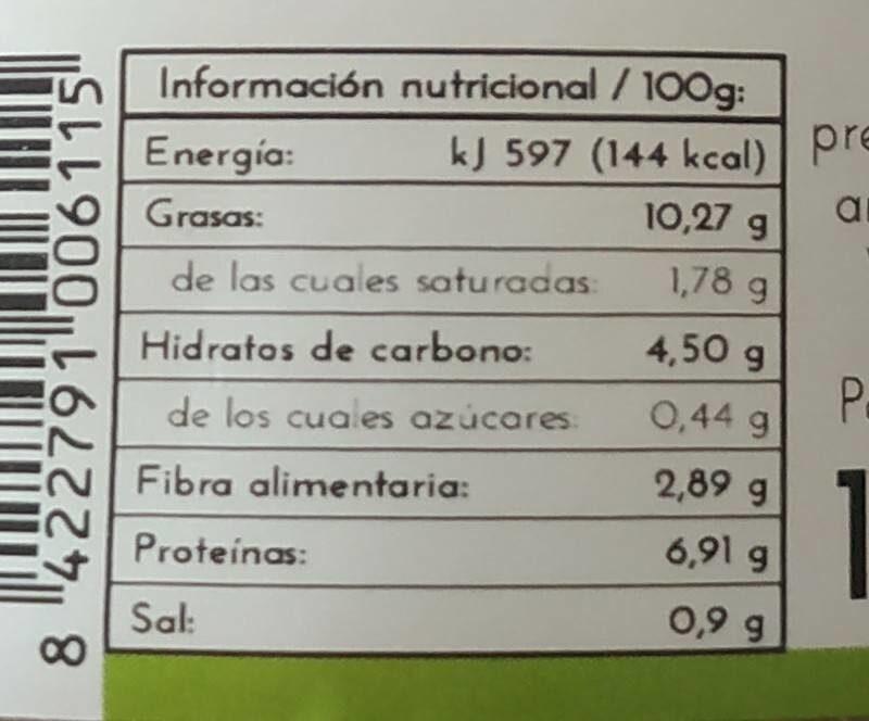 Pate Shiitake - Información nutricional