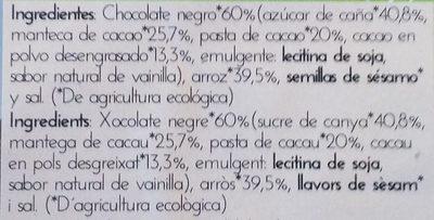 Tortitas de Arroz con Chocolate Negro - Ingrédients - es