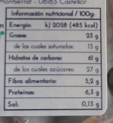 Tortitas de Arroz con Chocolate Negro - Informations nutritionnelles - es