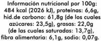 Tortitas de maíz con chocolate negro - Informació nutricional