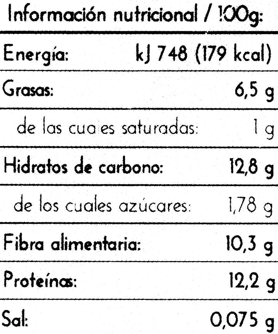 Tempeh de garbanzos - Información nutricional - es