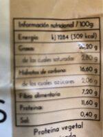 Tempeh de Garbanzos - Informació nutricional - es