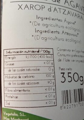 Sirope de Agave - Informació nutricional