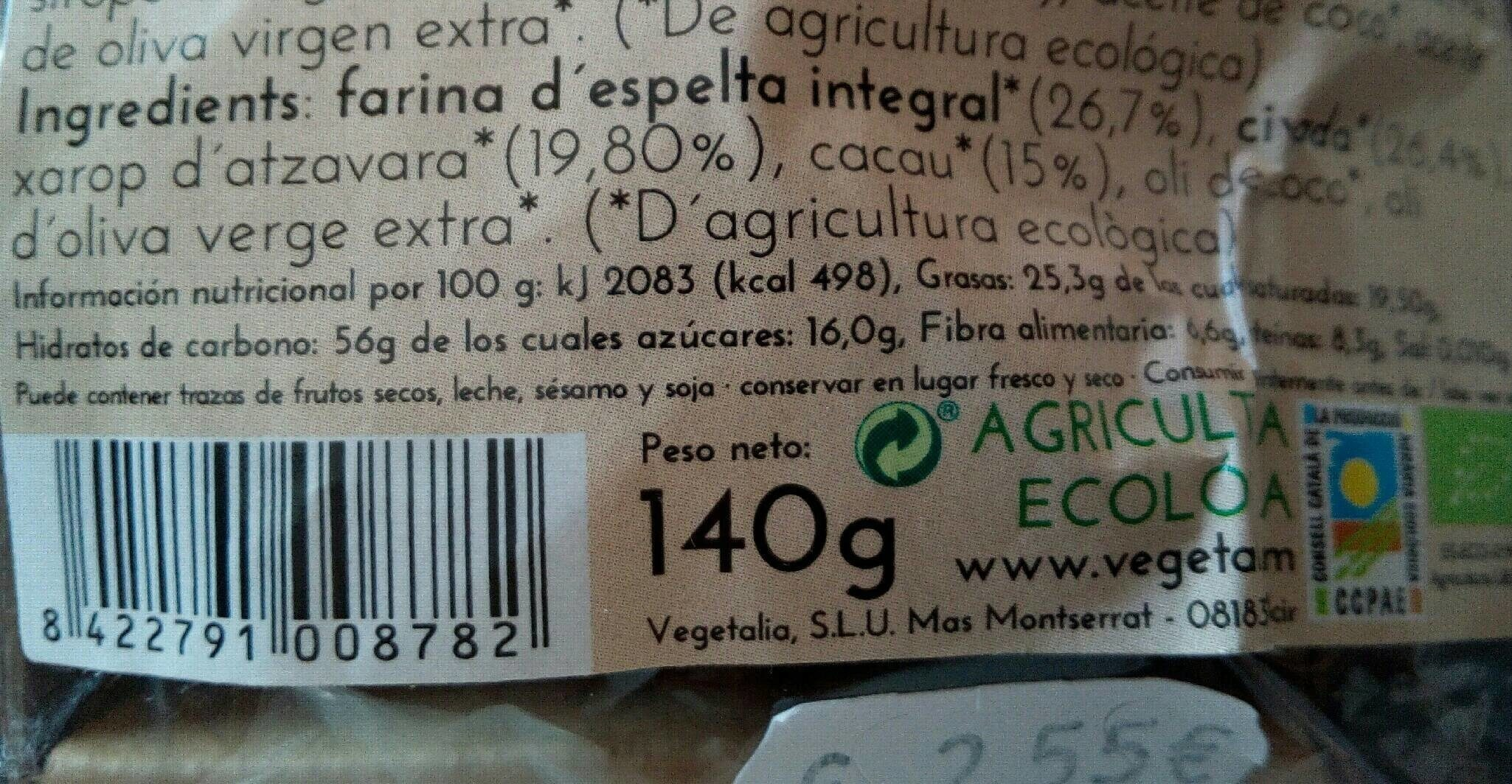 Cookies - Nutrition facts - es