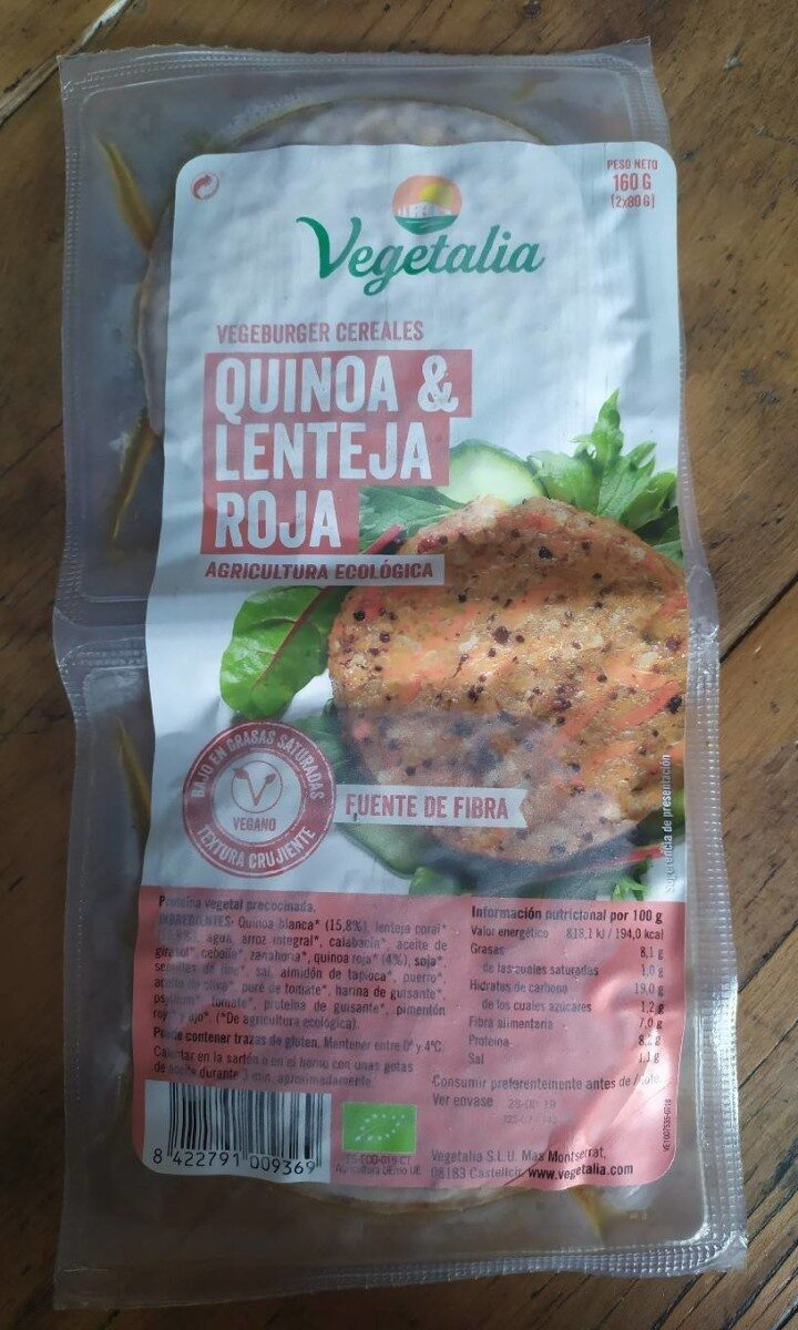 Vegeburger cereales quinoa y lenteja roja - Product