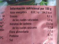 Vegeburger cereales quinoa y lenteja roja - Nutrition facts