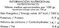"""Salsa siciliana ecológica """"Biosol"""" - Información nutricional"""