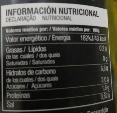 Alcachofas - Informació nutricional