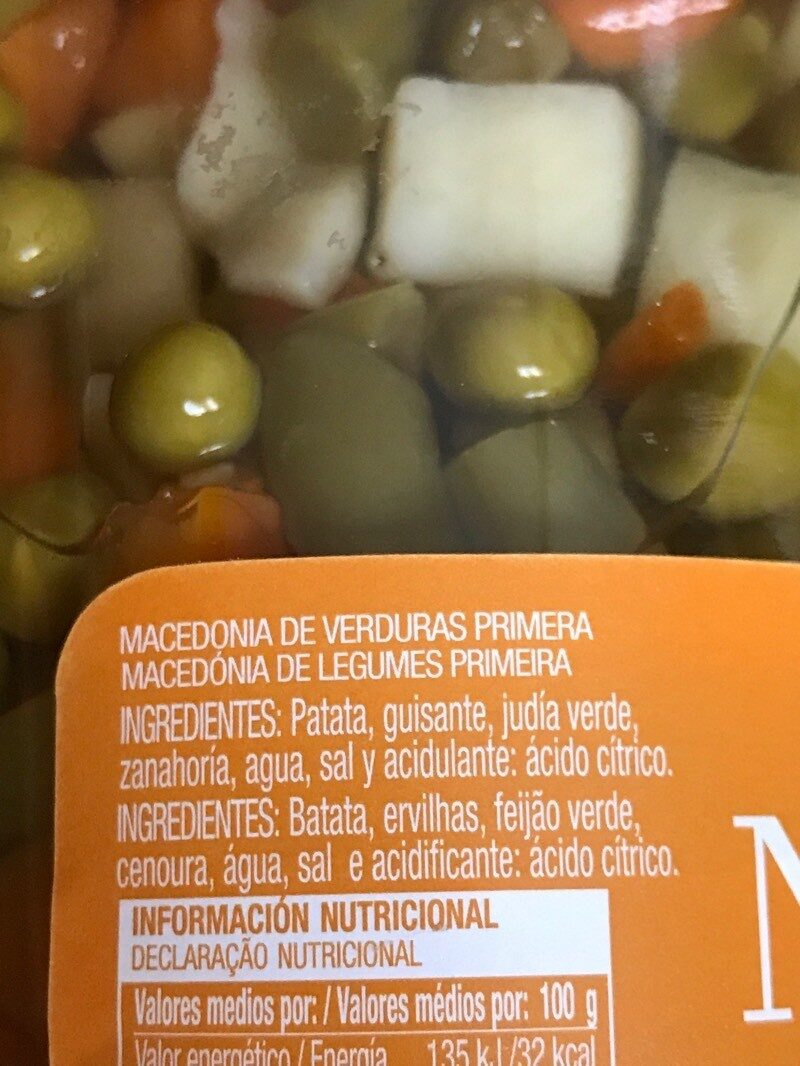 Macedonia de legumbres - Ingredientes - es