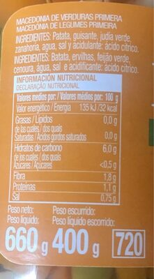 Macedonia de legumbres - Información nutricional - es