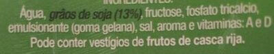 Bebida de soja - Ingrédients