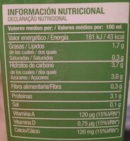 Bebida de soja - Informations nutritionnelles