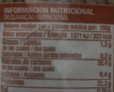 Lenteja pardina - Información nutricional - es