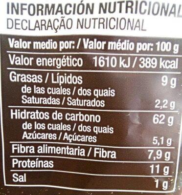 Biscote tosta - Información nutricional - es
