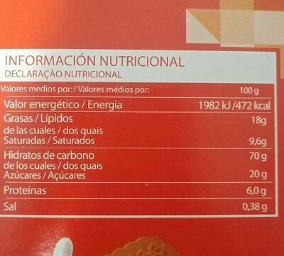 Galleta relieve - Informació nutricional - es