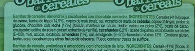 6 barritas de cereales - Ingrediënten - fr