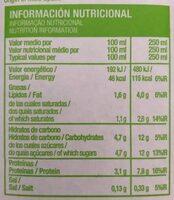 Leche semidesnatada - Informations nutritionnelles