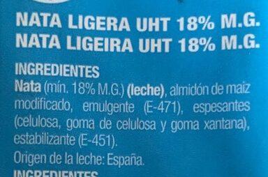 NATA PARA COCINAR - Ingredients