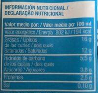 NATA PARA COCINAR - Nutrition facts