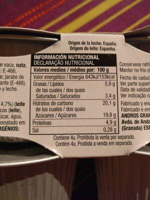 Flan de Queso Coviran - Nutrition facts