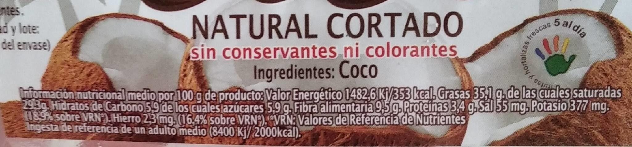 Coco pelado troceado para tomar - Información nutricional - es