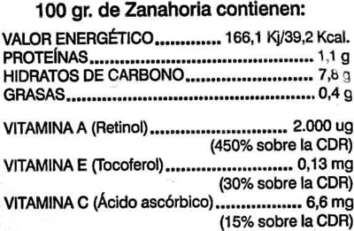 Carottes 1 kg - Informations nutritionnelles - es