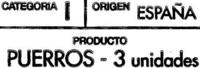 """Puerros """"V Agrícola Villena"""" - Ingredients - es"""