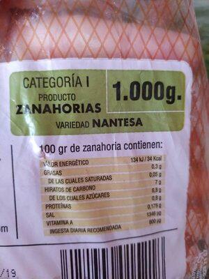 Zanahorias categoria I variedad Nantesa - Ingredients