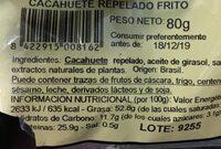 Cacahuete repelado frito - Información nutricional - es
