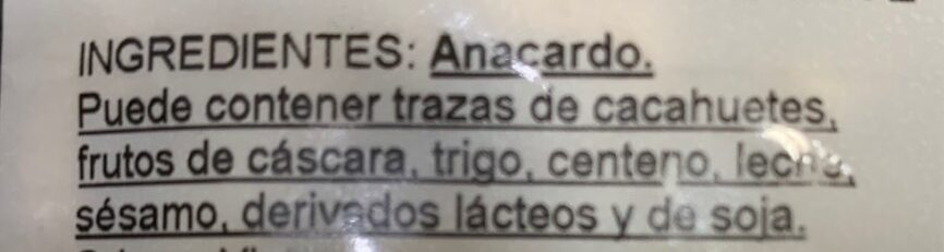 Gancedo Frutos Secos - Ingredients