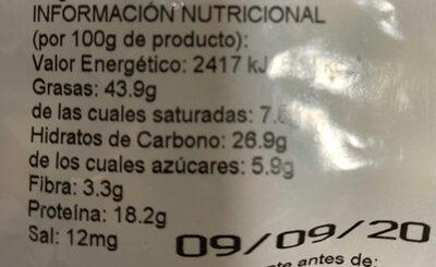 Gancedo Frutos Secos - Nutrition facts