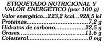 Caldo vegetal sin glutamato - Informació nutricional