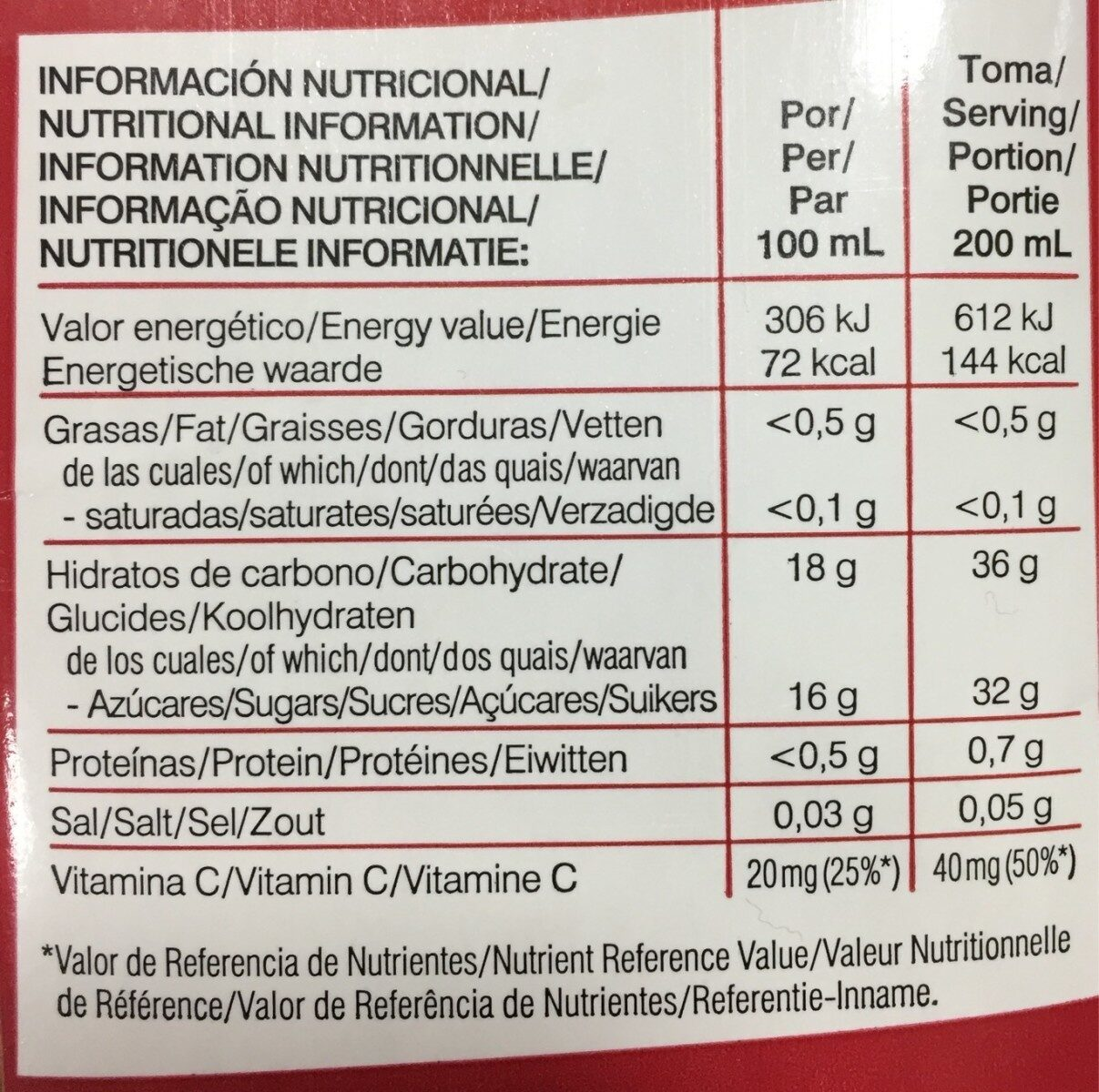 Bebida de Granada Punidox - Nutrition facts - fr