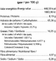 Galletas de soja sin gluten - Información nutricional