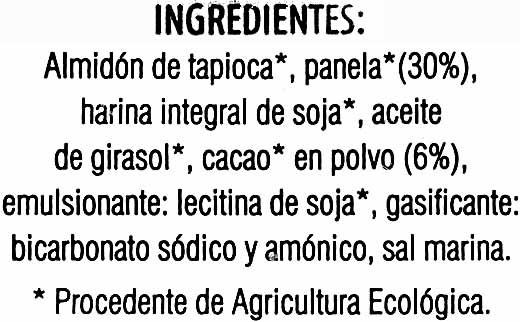 Galletas de chocolate ecológicas sin gluten - Ingrediënten