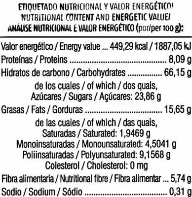 Galletas de chocolate ecológicas sin gluten - Voedingswaarden