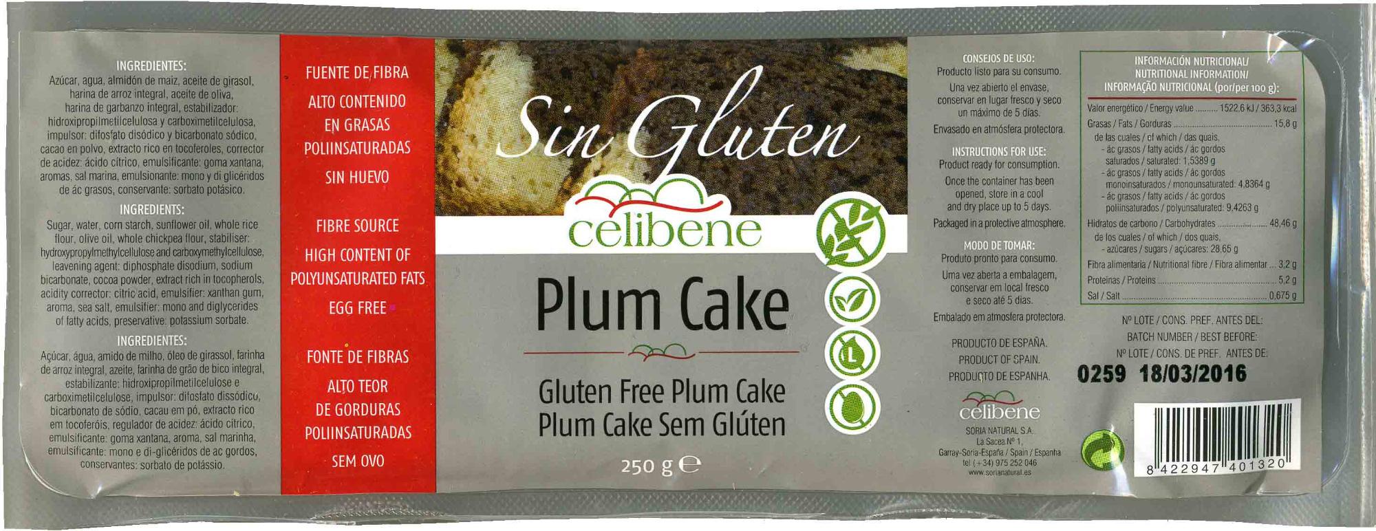 Plum cake sin gluten - Product