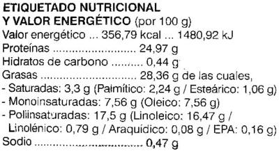 Queso vegetal semicurado - Información nutricional