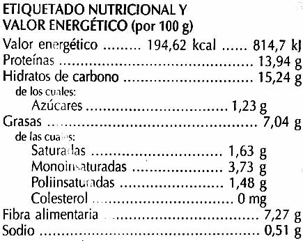 Hamburguesas vegetales Algas y chucrut - Información nutricional