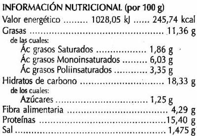 Hamburguesas vegetales Champiñón - Información nutricional