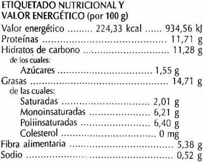 Hamburguesas vegetales Semillas - Información nutricional - es