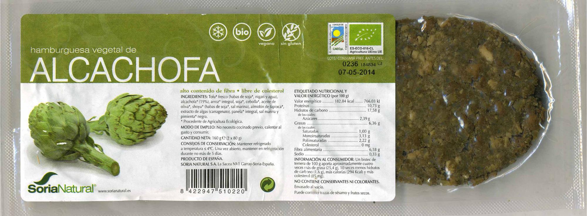 Hamburguesa vegetal de alcachofa - Producto - es