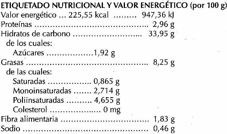 Croquetas de boletus ecológicas - Informations nutritionnelles - es