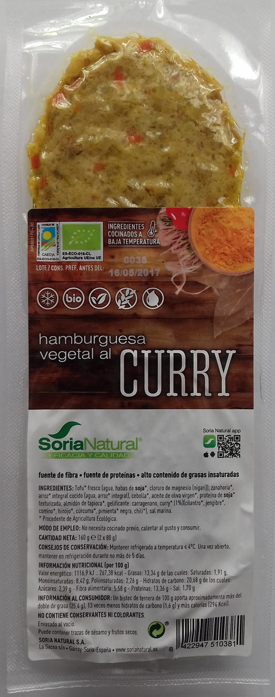 Hamburguesa vegetal al curry - Product - es